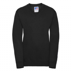 THURSO HIGH SCHOOL BLACK  V-NECK SWEATSHIRT WITH LOGO